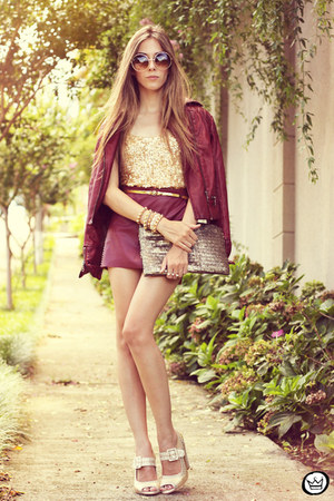 beige Kafé bracelet - crimson asos jacket - tan romwe bag