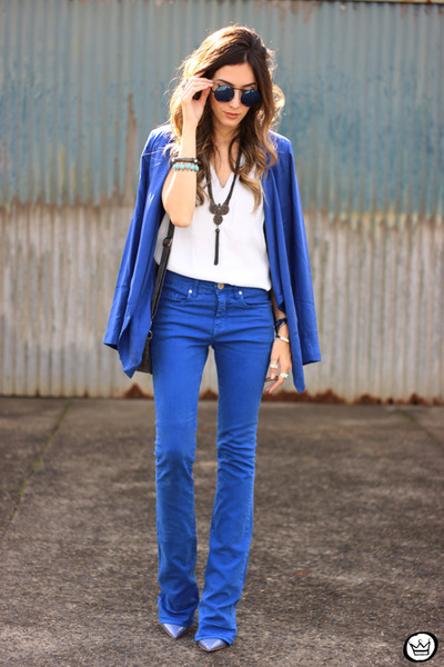 blue Shoulder blazer - white Shoulder shirt - blue Shoulder pants