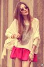 Eggshell-awwdore-jumper-hot-pink-romwe-skirt