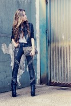 black Sheinside jacket - black studded Lokanda pants