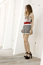 white stripes Romwecom skirt - black Mariana Amaral necklace