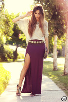 maroon GoodNight Macaroon skirt - periwinkle Antix jumper