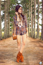 Purple-decote-jacket-amethyst-decote-shorts