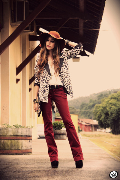 black Charry blazer - burnt orange asos hat - black romwe bag