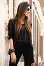 Black-displicent-leggings-ivory-chicwish-sunglasses-black-romwe-top
