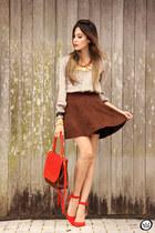 red Lucchetto bag - crimson Dutmy skirt
