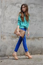 Blue-denim-renner-pants-aquamarine-renner-cardigan