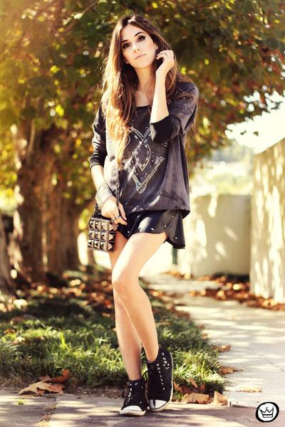 heather gray Santafina bag - black Zara shoes - charcoal gray Margô jumper