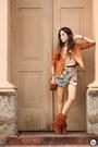 Orange-moikana-jacket-nude-gap-jumper-aquamarine-moikana-skirt