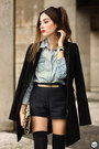 Black-lez-a-lez-coat-light-blue-levis-shirt-black-lez-a-lez-shorts
