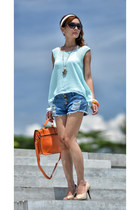 aquamarine chiffon top TWFS top - orange bag - blue shorts