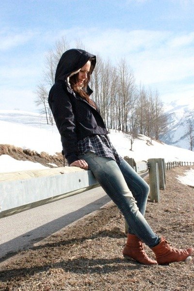tawny shearling Topshop boots - sky blue skinny Meltin Pot jeans