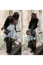 gray snakeprint stylestalker dress - black faux fur cuffed pedro miralles boots