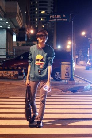 green Paul Frank sweater - gray Topman pants - black Zara shoes - black Mickey M