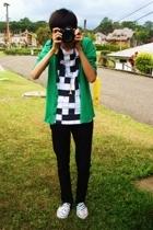 white shoes - black jeans - white t-shirt - green cardigan
