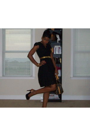 black Marshalls dress - black apple bottom shoes - gold belt