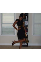 black Marshalls dress - black apple bottom shoes - gold belt