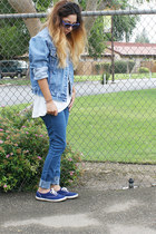 denim jacket jacket - Keds shoes - denim jeans Forever 21 jeans