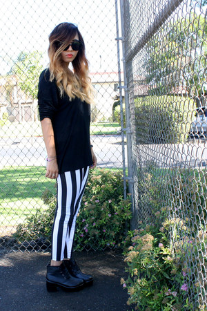 boots - stripes leggings - Old Navy top