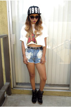 crop top obey t-shirt - snap back Shop after hours hat - Minte shorts
