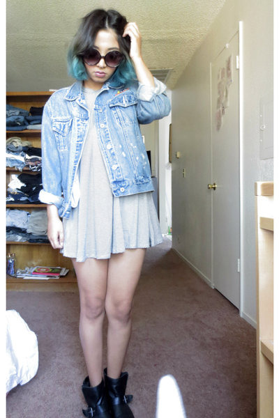 thrifted vintage jacket - Target boots - mall dress