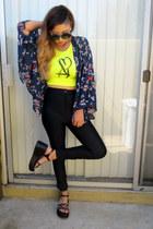 kimono Forever 21 vest - disco pants Tarte Vintage leggings - zeroUV sunglasses
