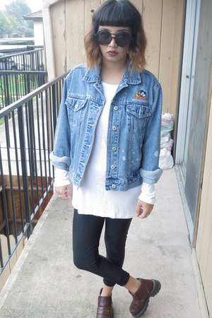thrifted shoes - thrifted jacket - DDs leggings - Old Navy t-shirt