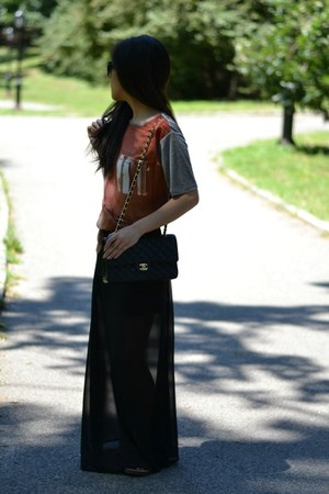 Sheinside skirt - Chanel bag - Zara t-shirt