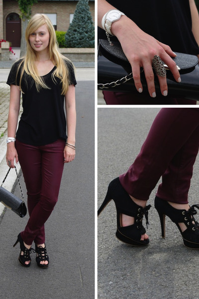 crimson Helmut Lang jeans - black Zara shirt - black Mango heels