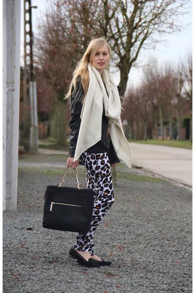 Zara scarf - leopard print H&M jeans - Zara bag - studded Zara loafers