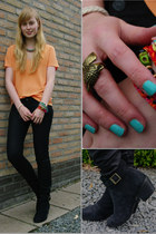 H&M bracelet - black new look boots - light orange Zara shirt