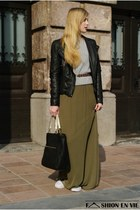 dark green maxi Zara dress - silver Choies sweater