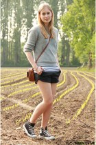 brown asos bag - silver Choies sweater - black Zara shorts - Converse sneakers