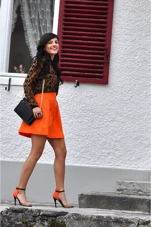 Zara skirt - Zara bag - Zara blouse - suede Zara heels
