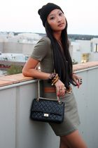 green Kookai dress - brown belt - black Mimco hat