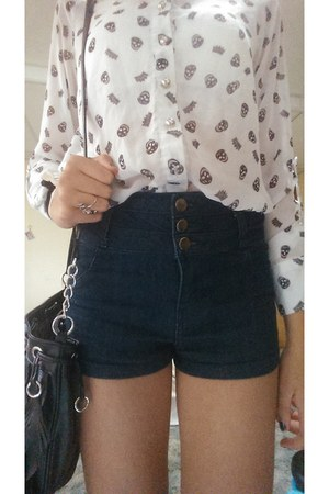 blue Forever 21 shorts - Forever 21 blouse