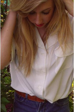 white vintage shirt - blue vintage levis shorts - brown vintage belt