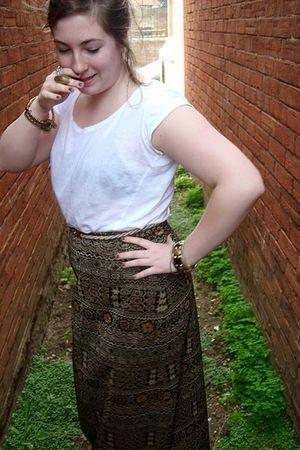brown vintage skirt - white H&M t-shirt
