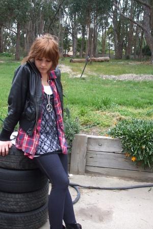 jacket - shirt - dress - top - tights - shoes