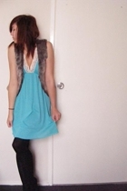 Big W vest - Secondhand dress - tights