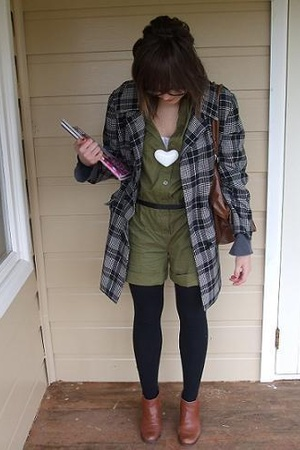 Mink Pink shorts - Secondhand coat - Sportsgirl necklace - Secondhand shoes
