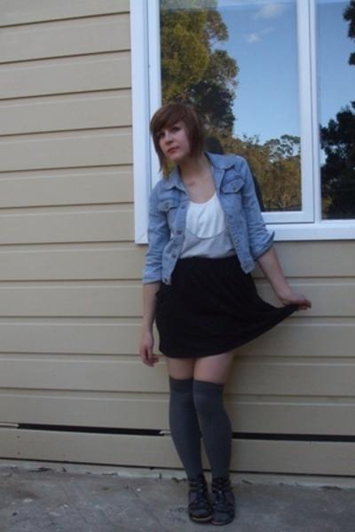 Secondhand jacket - V&M top - V&M top - supre skirt - Sportsgirl socks - Rip the
