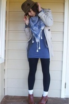 beige coat - brown shoes - gray jacket - blue top
