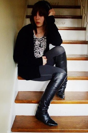 black cardigan Deborah K jacket - black over knee boots vintage shoes