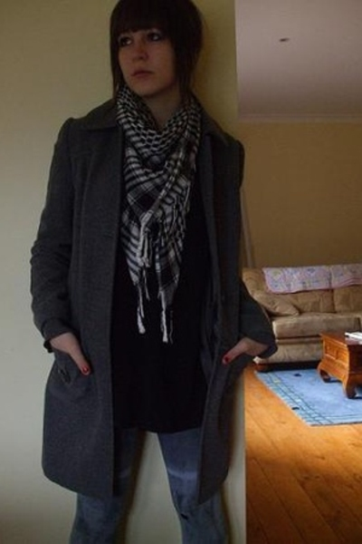 Target coat - Living Doll dress - tights - PinkBlue scarf