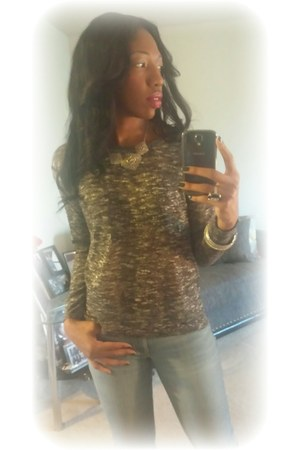 silver Mandee necklace - knee boots JustFab boots - skinny ripped Old Navy jeans