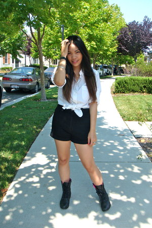 combat boots Betsey Johnson boots - high waisted BDG shorts - WYL top