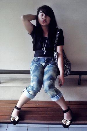 black Zara top - blue DIY Acid Boyish Jeans jeans - black Online Shop shoes
