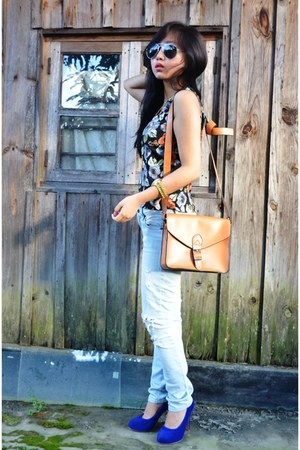 faballeycom bag - Forever 21 jeans - Forever 21 sunglasses - tailored blouse