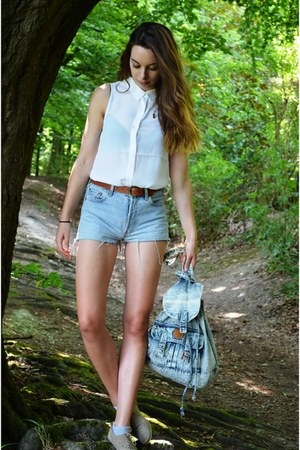 light blue vintage bag - light brown Topshop shoes - white H&M shirt
